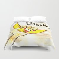 banana Duvet Covers featuring BANANA!! by Asano Kitamura
