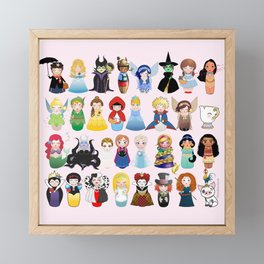 Cute kokeshis fairy tales Framed Mini Art Print