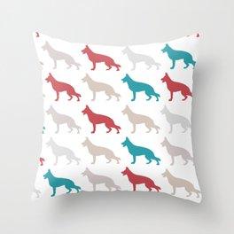 german sheppard | pattern Throw Pillow
