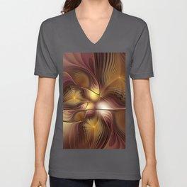 A Secret Place, Abstract Fractal Art Unisex V-Neck