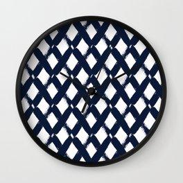 Diamonds Modern Contemporary Abstract Navy Wall Clock