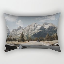 on the road: approaching the mighty Tetons Rectangular Pillow