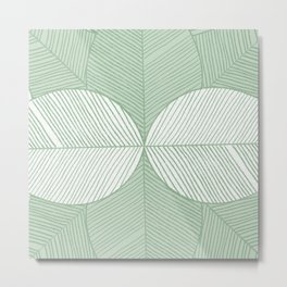 Minimal Tropical Leaves Pastel Green Metal Print
