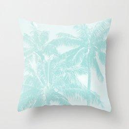 Palm Trees Cyan Kihei Maui Hawaii Throw Pillow
