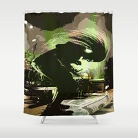 rock n roll Shower Curtains featuring Rock N Roll by DTGTEEZ