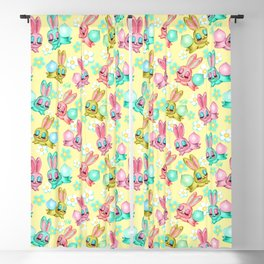 Bunnies and Daisies on Yellow Blackout Curtain