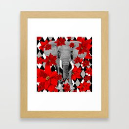POINSETTIAS ELEPHANTS AND HARLEQUINS OH MY Framed Art Print