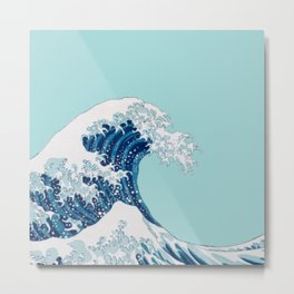 The Great Wave with Blue Background Metal Print