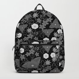 Black and white flowers Backpack