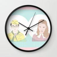 moonrise kingdom Wall Clocks featuring MOONRISE KINGDOM by Itxaso Beistegui Illustrations
