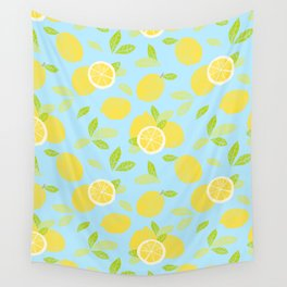 Bright And Sunny And Stamped Lemon Citrus Pattern Wall Tapestry
