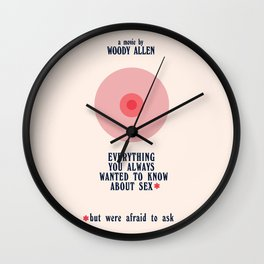 Woody Allen minimalist movie poster, alternative playbill, everything you wanted to know about sex Wall Clock