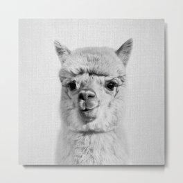 Alpaca - Black & White Metal Print