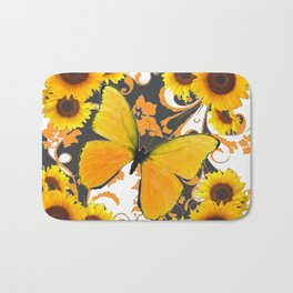 GOLDEN BUTTERFLY & SUNFLOWERS ARABESQUES Bath Mat