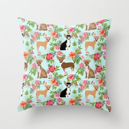 Chihuahua floral tropical hawaii floral hibiscus dog breed dogs pets Throw Pillow