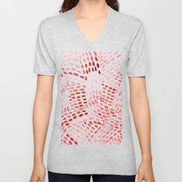 Watercolor dotted lines - red Unisex V-Neck