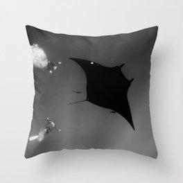 Manta and Divers Throw Pillow