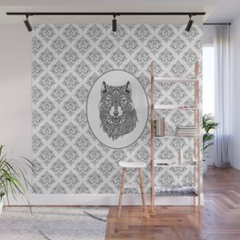 Gray & White Damasks Featuring Wolf Head Wall Mural