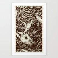 deer Art Prints featuring doe-eyed by Teagan White