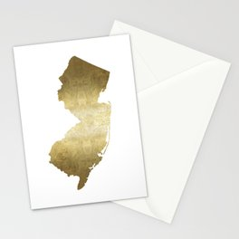 New Jersey state map gold foil Stationery Cards