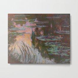 Water Lilies - Setting Sun by Claude Monet Metal Print