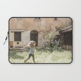 Playful in Nature   Happy Wild Skipping Child Vintage Outdoor Field Rustic Charming Country Farm Laptop Sleeve