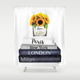 Books, Sunflowers, City's,Cities, travel, Fashion illustration, Amanda Greenwood, watercolor Shower Curtain
