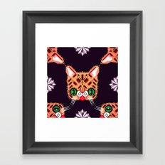 Lil Bub Geometric Pattern Framed Art Print