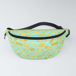 Italian Restaurant Pasta Shapes Food Pattern in Blue Fanny Pack