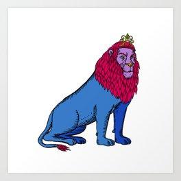Blue Lion Sitting Wearing Tiara Crown Etching Art Print