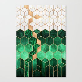 Emerald Cubes And Hexagons Canvas Print