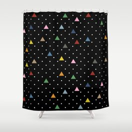 Pin Point Triangles Black Shower Curtain