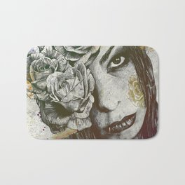 Of Suffering: Autumn (dark lady portrait with roses) Bath Mat