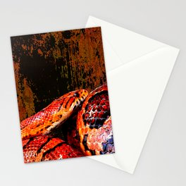 Grunge Coiled Corn Snake Stationery Cards