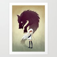 yellow Art Prints featuring Werewolf by Freeminds