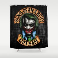 anarchy Shower Curtains featuring Joker Son of Anarchy by JanaProject