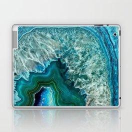 Aqua turquoise agate mineral gem stone Laptop & iPad Skin