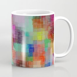 geometric square pixel pattern abstract in green blue red pink purple Coffee Mug