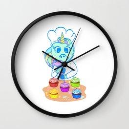 "Great Baking Design For Bakers T-shirt Design ""Unicorn"" Fork Knife Cherry Icing Cake Dessert Buttons Wall Clock"