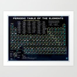 Periodic Table Of The Elements Vintage Chart Black Art Print