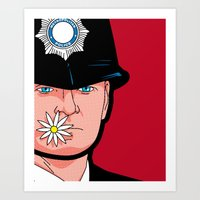 banksy Art Prints featuring Pop Icon - Banksy Wink by Greg Guillemin