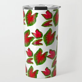 Red and Green Caladium Leaf Dance Travel Mug