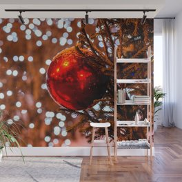 Red Ball, White Illumination Lights Wall Mural