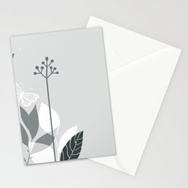 PPG Night Watch Pewter Green Botanicals and Butterfly Graphic Design 2 Stationery Cards