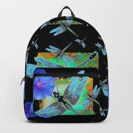 BLUE DRAGONFLIES MORNING GLORY BLACK ABSTRACT Backpack