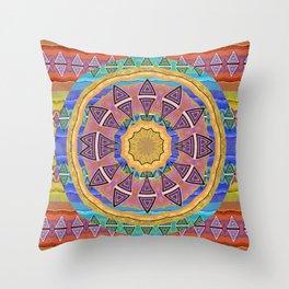 Solar Flare Oil Neo Tribal Abstract Geometric Mandala Throw Pillow