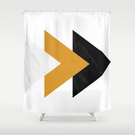 Forward marble yellow arrows Shower Curtain