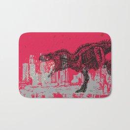 T-Rex dinosaur attacking grunge city Bath Mat