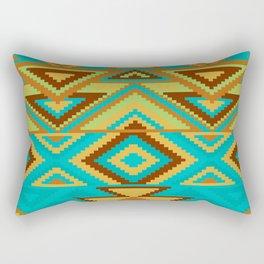 Native Aztec Turquoise Tribal Rug Pattern Rectangular Pillow