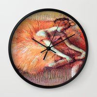 degas Wall Clocks featuring Peach Ballerina by PureVintageLove